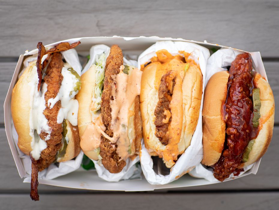 Here's a look at the lineup of sandos at Fuku. The new restaurant concept is a delivery-only model that becomes available in Dallas, Plano and Houston on April 6, 2021.