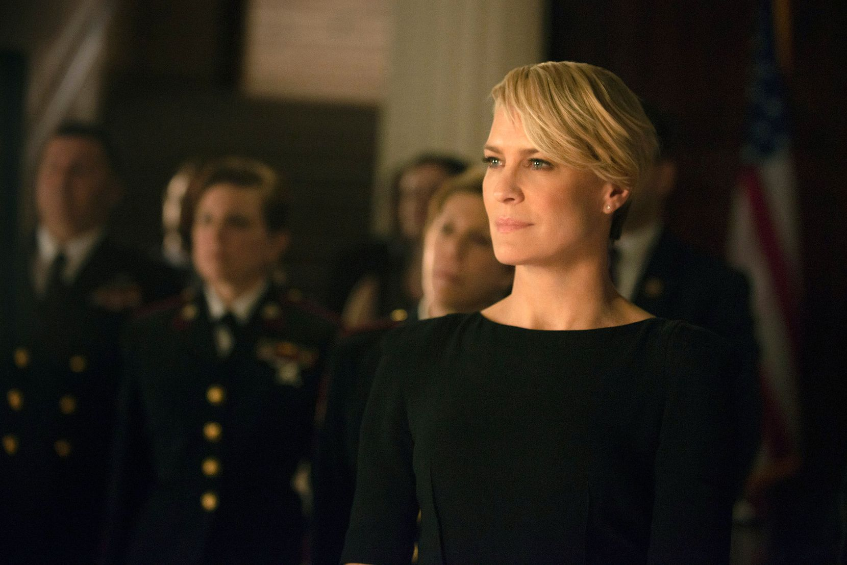 "Robin Wright as Claire Underwood in a scene from the Netflix show ""House of Cards."""
