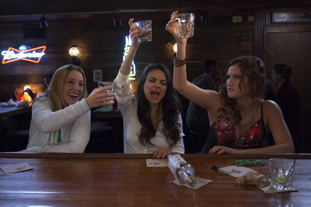 L-R: Kristen Bell, Mila Kunis and Kathryn Hahn play overstressed mothers who decide to cut loose in Bad Moms.