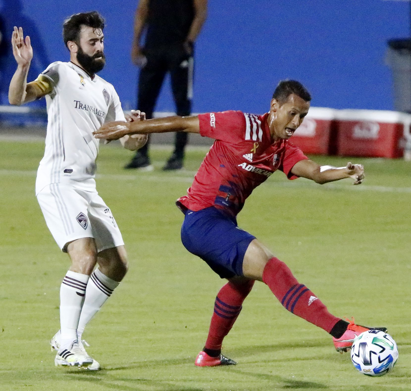 FC Dallas midfielder Pablo Aranguiz shields the soccer ball from Colorado Rapids midfielder Jack Price (19) during the first half as FC Dallas hosted the Colorado Rapids at Toyota Stadium in Frisco on Wednesday night, September 16, 2020. (Stewart F. House/Special Contributor)