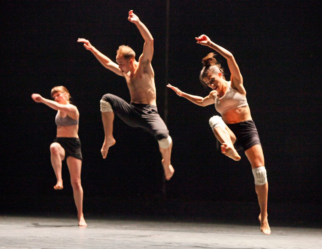 Dancers perform a pieced titled For Allen, choreographed by Jonathan Campbell and Austin Diaz, during the performance of The Great American Sh*t Show by Dark Circles Contemporary Dance on Nov. 18, 2016 at the Bob Hope Theatre inside the Owen Arts Center on the campus of Southern Methodist University.