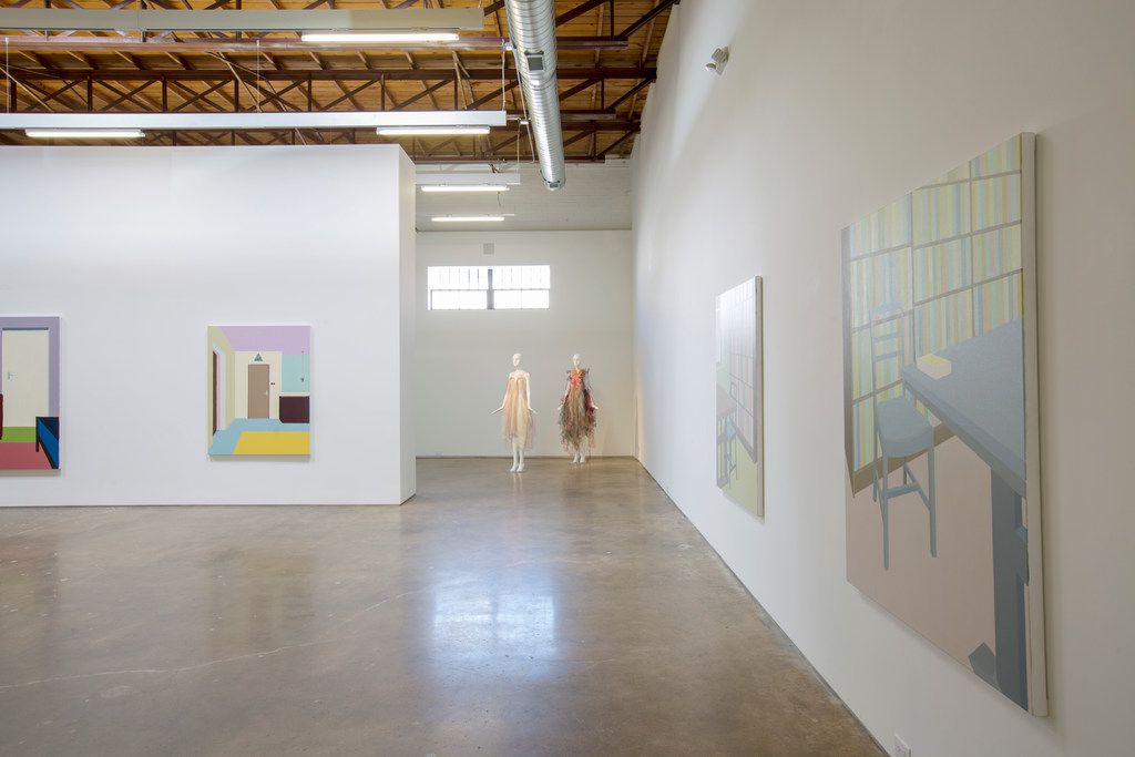 The fall art exhibition at Site 131 features textile sculptures by Anne Damgaard, paintings by Zsofia Schweger, photos by Richard Tuschman and collages by Cristina Velásquez.