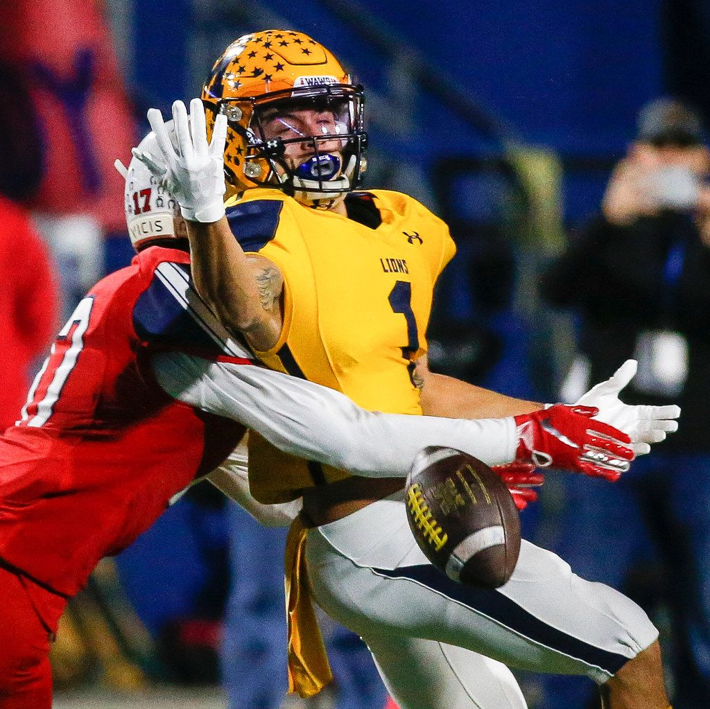 McKinney Boyd's Caden Park (17) breaks up a pass intended for McKinney's Isaiah Rojas (1) during the first quarter of a high school football matchup between McKinney and McKinney Boyd at McKinney ISD Stadium on Friday, Nov. 8, 2019 in McKinney, Texas. (Ryan Michalesko/The Dallas Morning News)