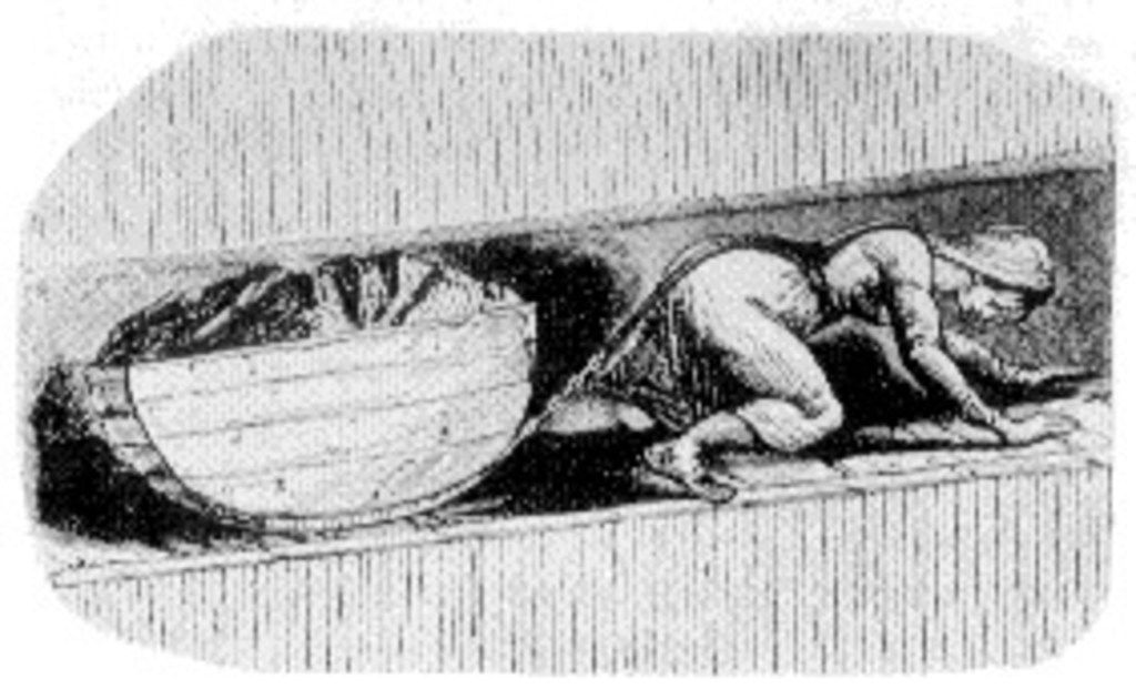 """A coal """"hurrier"""" in England, circa 1841. Until Parliament's reforming Mines Act of 1842, whole families labored underground: the men hacking at the coal face with picks, the women hauling out the coal in wicker baskets on their backs or harnessed to iron or wooden tubs; the children helping haul the coal or working the doors. From Energy, by Richard Rhodes."""