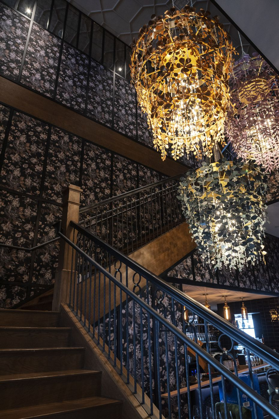 The staircase in the middle of Monarch leads to private rooms and event spaces. Underneath is the Chandelier Bar, a small area that is chef Danny Grant's favorite spot in the restaurant.