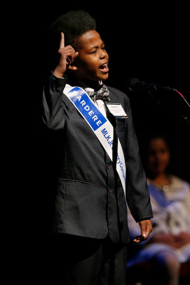 Asad King, a fourth grader at William Brown Miller Elementary, delivers his third place-winning speech during the 25th Annual Gardere MLK Jr. Oratory Competition at the Majestic Theatre in Dallas on Friday, Jan. 13, 2017. (Rose Baca/The Dallas Morning News)