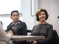 Former First Lady Laura Bush tours Bonton Farms in South Dallas with Burmese scholars on Oct. 21, 2019. (Lynda M. Gonzalez/The Dallas Morning News)