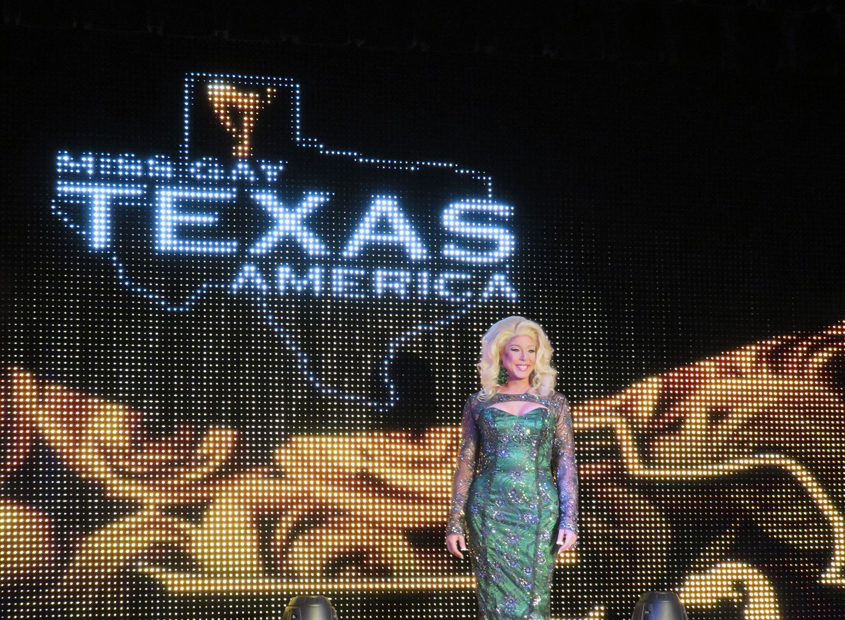 Arlington-based drag queen Tara St. Stone posing for the evening gown competition.