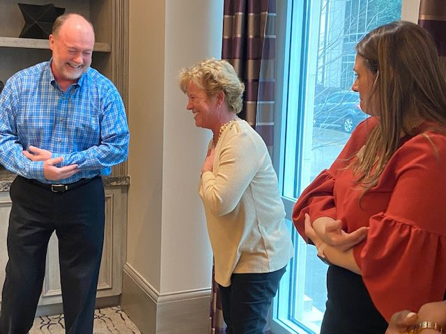 Randy and Jan Haberer can't help laughing while practicing improv with Kathleen Donnelly of the Preston of the Park Cities.