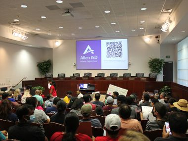 A couple of hundred parents, mostly masked, showed up to the Allen ISD board meeting to protest the district's COVID-19 policies for the 2021-2022 school year. A few dozen parents also came to the meeting to show support for the district's current pandemic response.