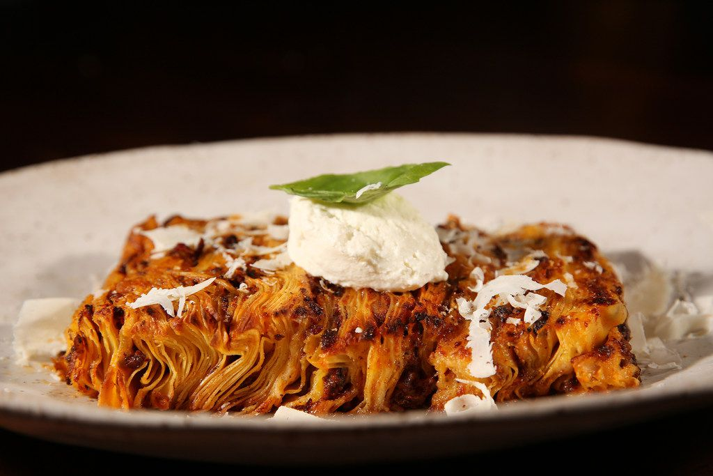 The 100-layer lasagna is served on its side. Cuz dang, it's tall.
