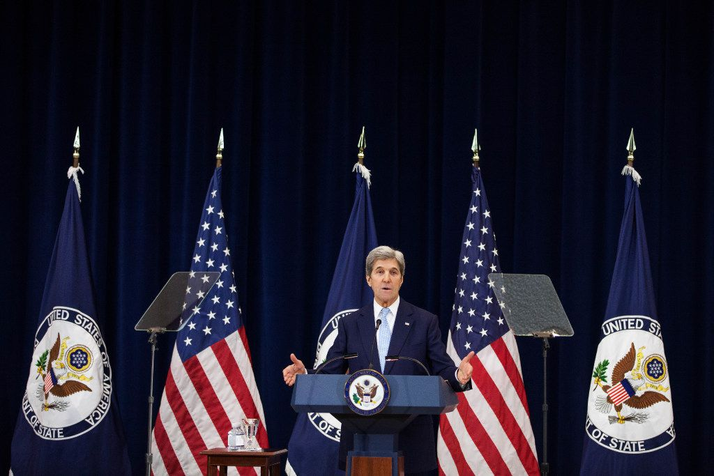 U.S. Secretary of State John Kerry delivers a speech on Middle East peace at The U.S. Department of State on December 28, 2016 in Washington, DC. Kerry spoke on the need for a two-state solution and defended the Obama administration's approach to Israel. (Photo by Zach Gibson/Getty Images)