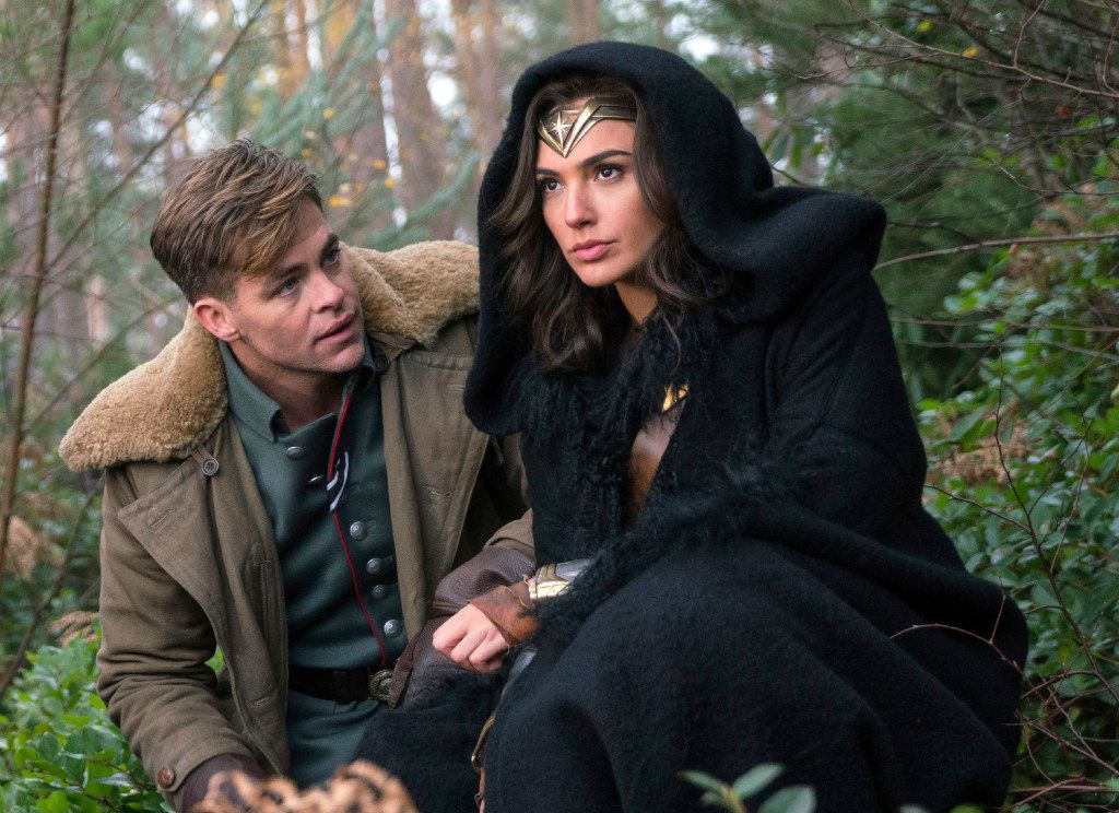 "This image released by Warner Bros. Pictures shows Chris Pine, left, and Gal Gadot in a scene from, ""Wonder Woman."""