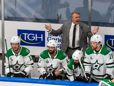 Interim head coach Rick Bowness of the Dallas Stars shouts instructions during Game 5 of the Stanley Cup Final against the Tampa Bay Lightning at Rogers Place in Edmonton, Alberta, Canada, on Saturday, Sept. 26, 2020.