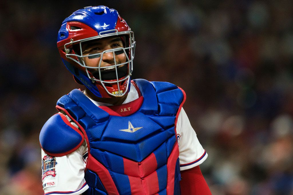 Texas Rangers catcher Jose Trevino looks back to the dugout during the sixth inning against the Seattle Mariners at Globe Life Park on Saturday, Aug. 31, 2019, in Arlington. (Smiley N. Pool/The Dallas Morning News)