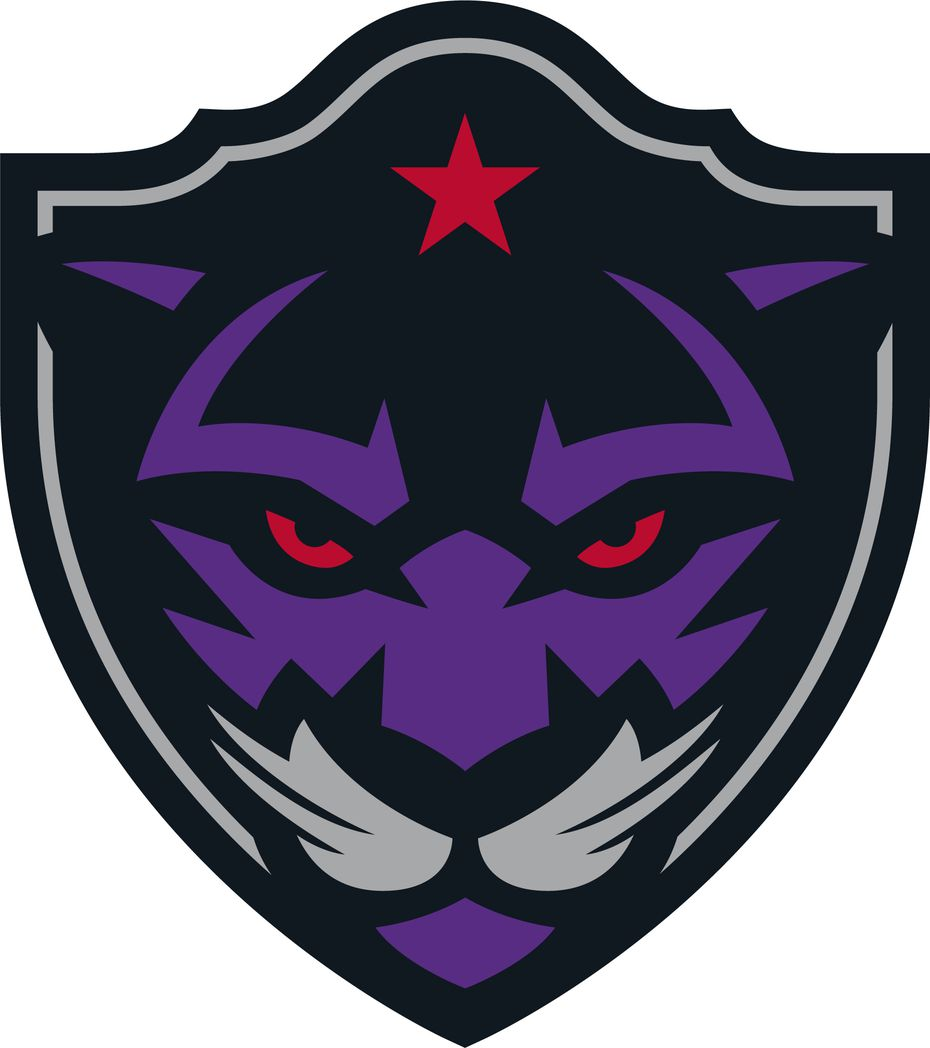 Panther City Lacrosse Club logo. Team colors include black, purple, red and gray.