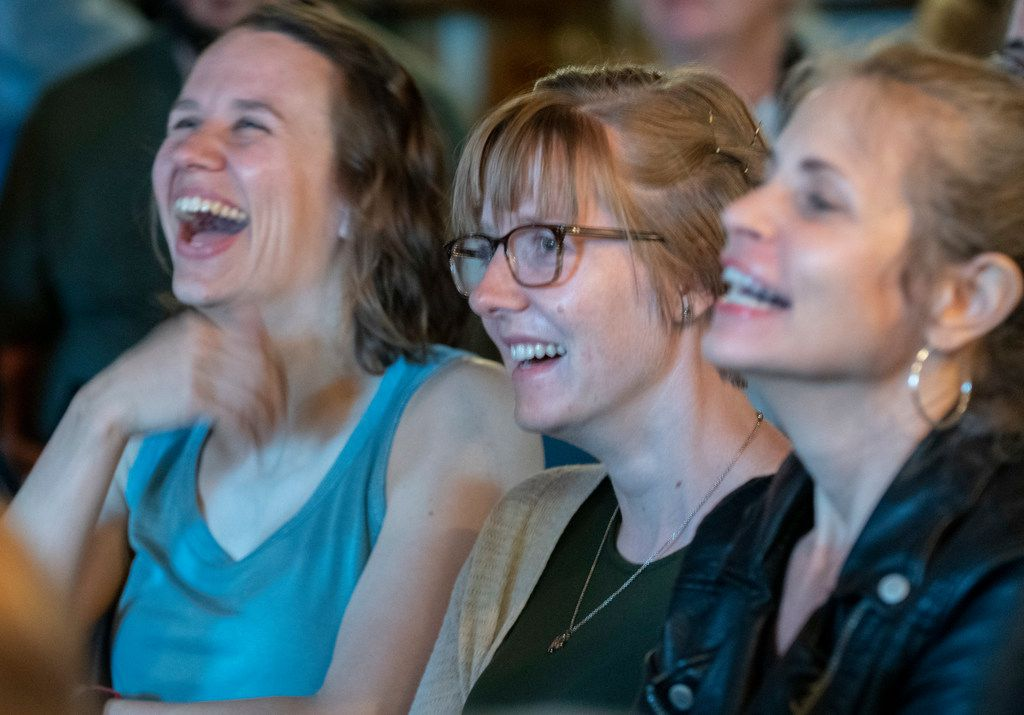 "Audience members reacted to Erin Barker's story during ""The Story Collider: Stories About Science"" at Wild Detectives on April 25 in Dallas."
