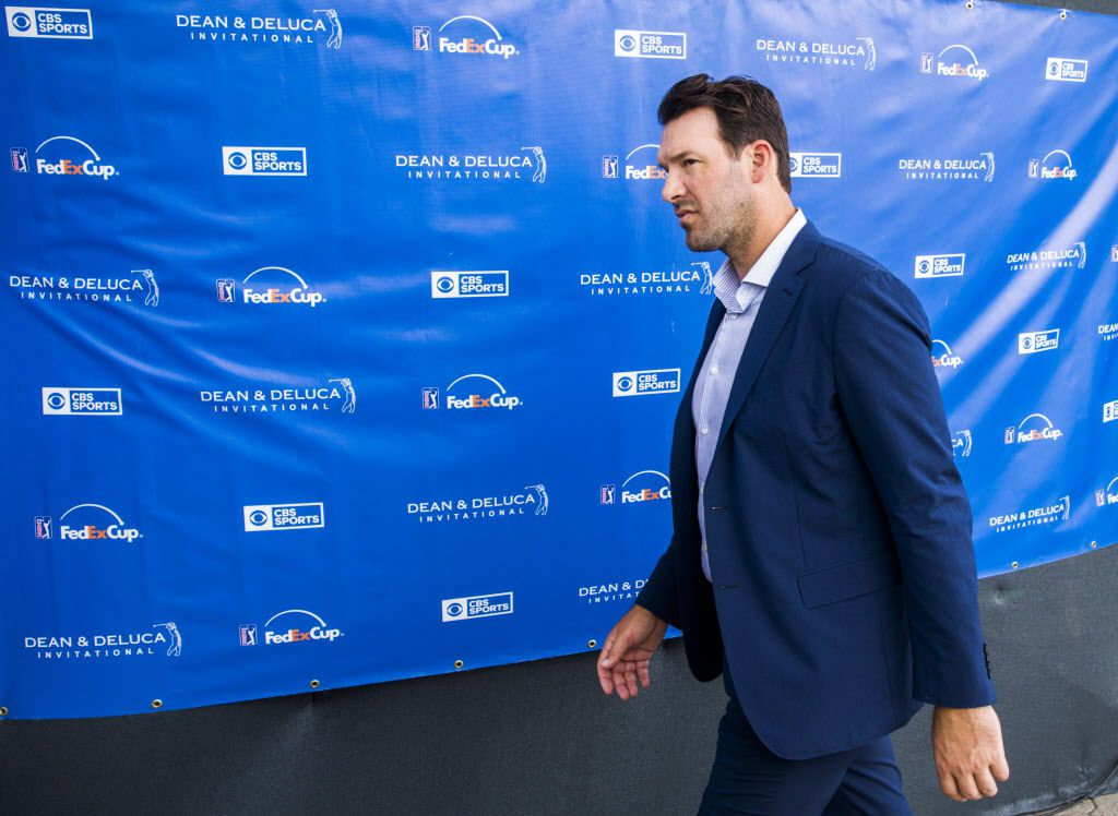 Former Dallas Cowboys quarterback Tony Romo walks away from the CBS broadcast booth during round three of the Dean & Deluca Invitational golf tournament on Saturday, May 27, 2017 at Colonial Country Club in Fort Worth. (Ashley Landis/The Dallas Morning News)