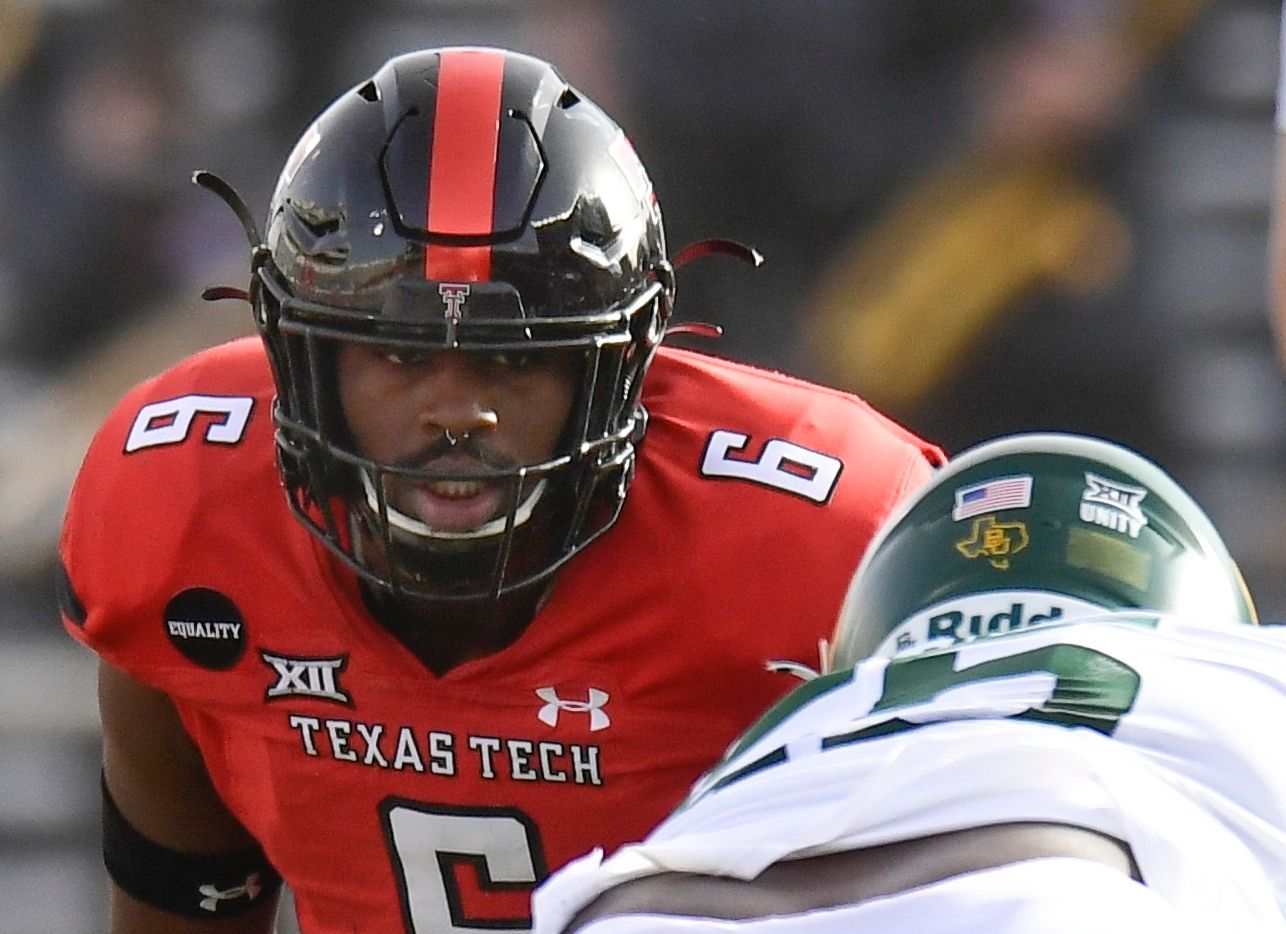 Texas Tech linebacker Riko Jeffers (6) watches the Baylor quarterback during the first half of an NCAA college football game in Lubbock, Texas, Saturday, Nov. 14, 2020.