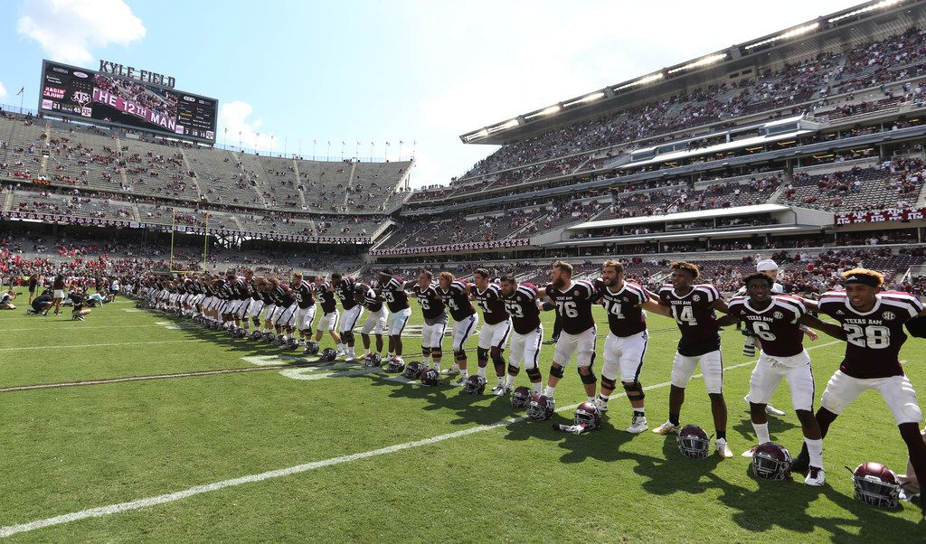 The Aggies are pictured at the end of the game after the Louisiana Lafayette Ragin' Cajuns vs. the Texas A&M Aggies at Kyle Field in College Stadium, Texas on Saturday, September 16, 2017. (Louis DeLuca/The Dallas Morning News)