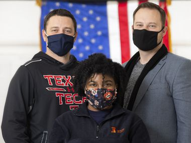 Bryan Adams High School US History teacher Stephen Patterson, left, African-American Studies and world history teacher Bri Thomas, center, and Principal Ryan Bott spent much of Wednesday afternoon and Thursday helping students -- and each other -- process the rioting at the U.S. Capitol.