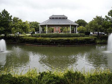 A water feature and gazebo are pictured in Southlake Town Square, a shopping district in Southlake, Texas Tuesday, June 23, 2020.