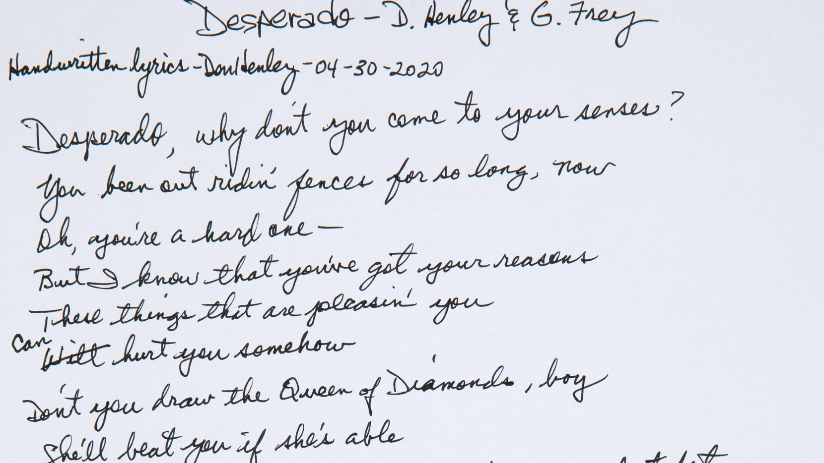 """Don Henley and Glenn Frey's handwritten lyrics to the Eagles' """"Desperado"""" sold for $33,600 at a charity auction held by Heritage Auctions on May 13."""