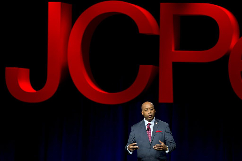 Marvin Ellison, CEO of J.C. Penney, speaks during an annual J.C. Penney staff meeting Wednesday, March 16, 2016 in downtown Dallas.
