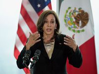 """Vice President Kamala Harris speaks during a press conference in Mexico City, on June 8, 2021. She held talks with President Andres Manuel Lopez Obrador during a visit to the region aimed at tackling the """"root causes"""" of a surge in migrant arrivals."""