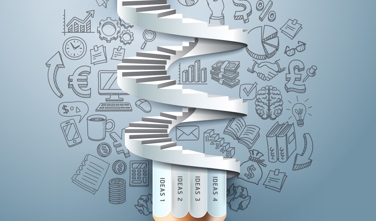 Business pencil staircase Infographics option. can be used for workflow layout, banner, diagram, number options, step up options, web design.