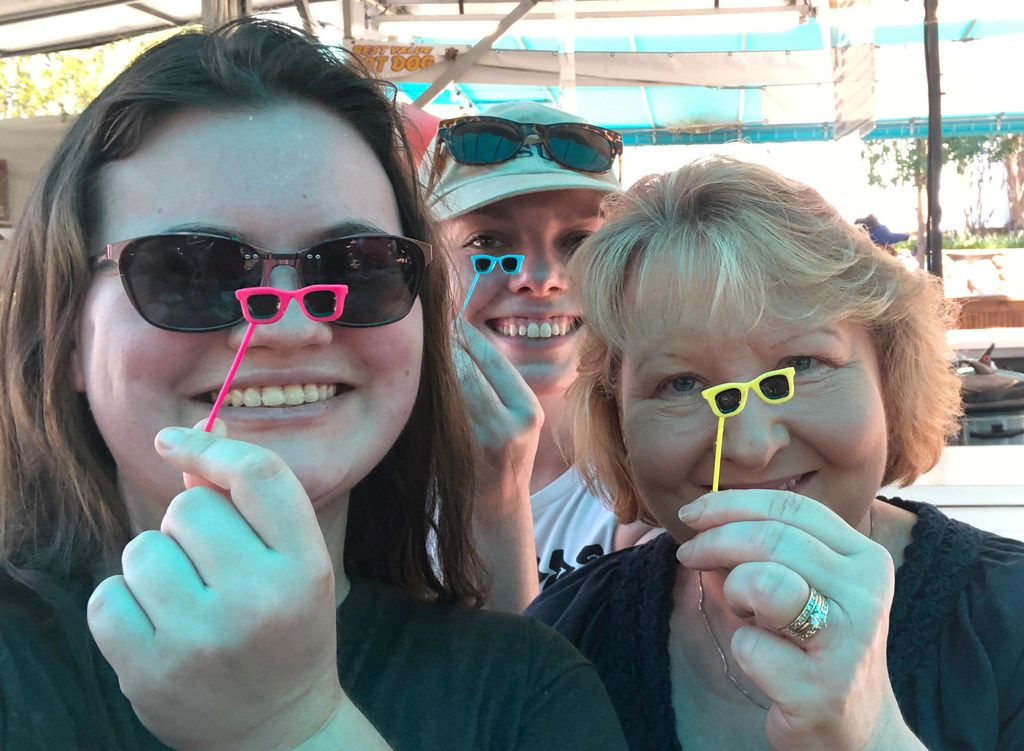 An unexpected perk of the Big Red Chicken Bread: The plastic sunglasses make for great selfies. (From left) Linda Kessler, Audrey Eads and Kim Oglethorpe visited the State Fair of Texas on Sept. 27, 2019, to taste the Big Tex Choice Awards finalists.