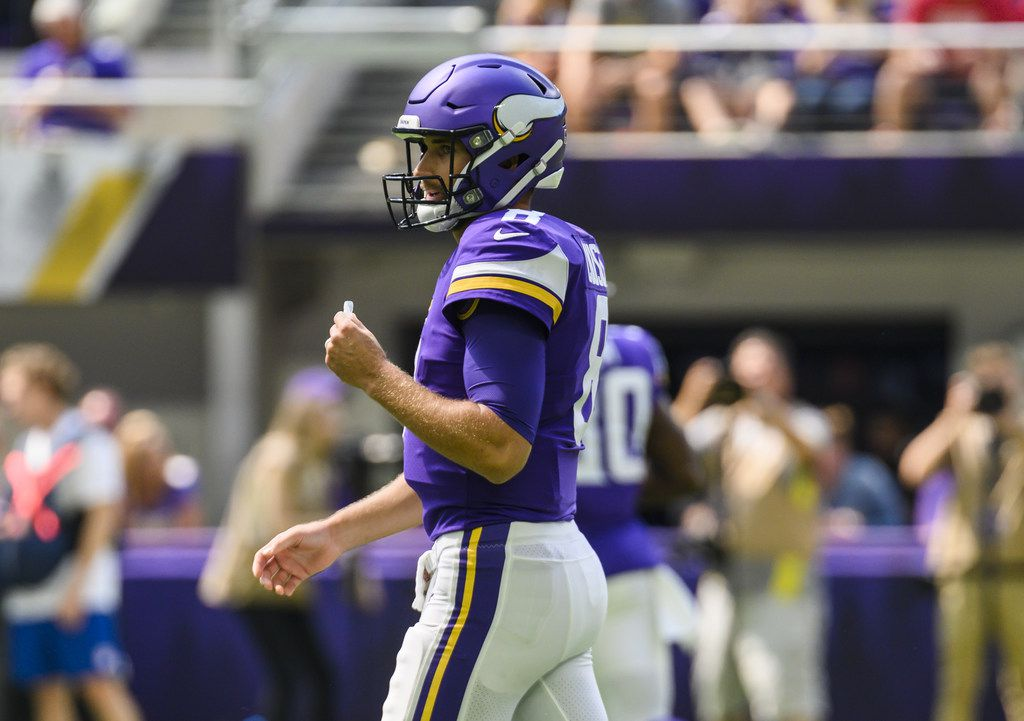 MINNEAPOLIS, MN - AUGUST 24: Kirk Cousins #8 of the Minnesota Vikings on the field in the first quarter of the preseason game against the Arizona Cardinals at U.S. Bank Stadium on August 24, 2019 in Minneapolis, Minnesota.