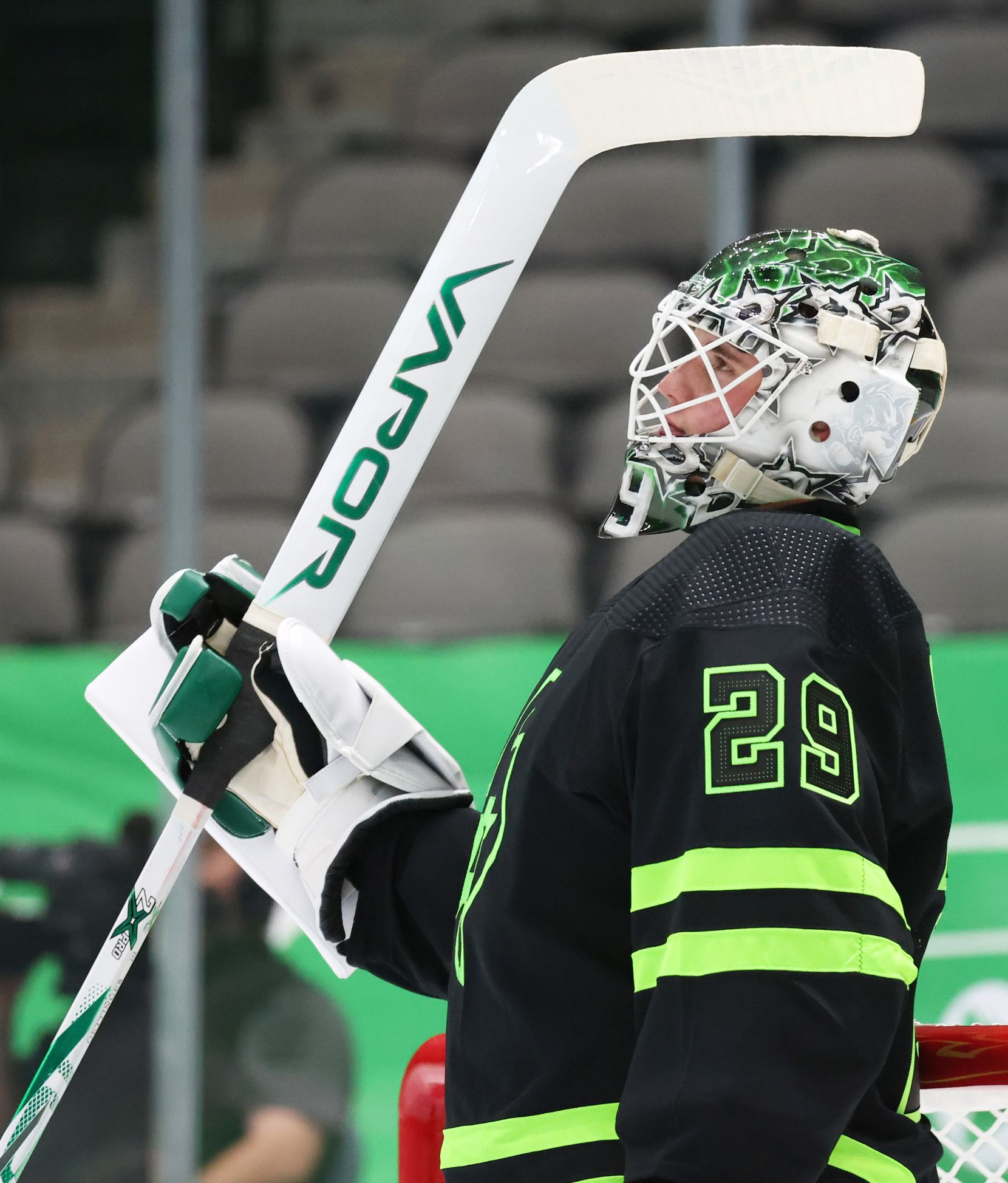 Dallas Stars goaltender Jake Oettinger (29) watches a replay after the Dallas Stars scored in a game against the Detroit Red Wings during the second period of play at American Airlines Center on Thursday, January 28, 2021in Dallas. (Vernon Bryant/The Dallas Morning News)
