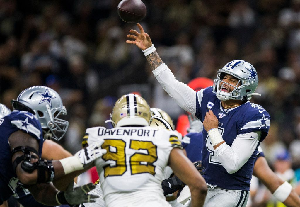 Dallas Cowboys quarterback Dak Prescott (4) throws a pass during the third quarter of an NFL game between the Dallas Cowboys and the News Orleans Saints on Sunday, September 29, 2019 at Mercedes-Benz Superdome in New Orleans, Louisiana.