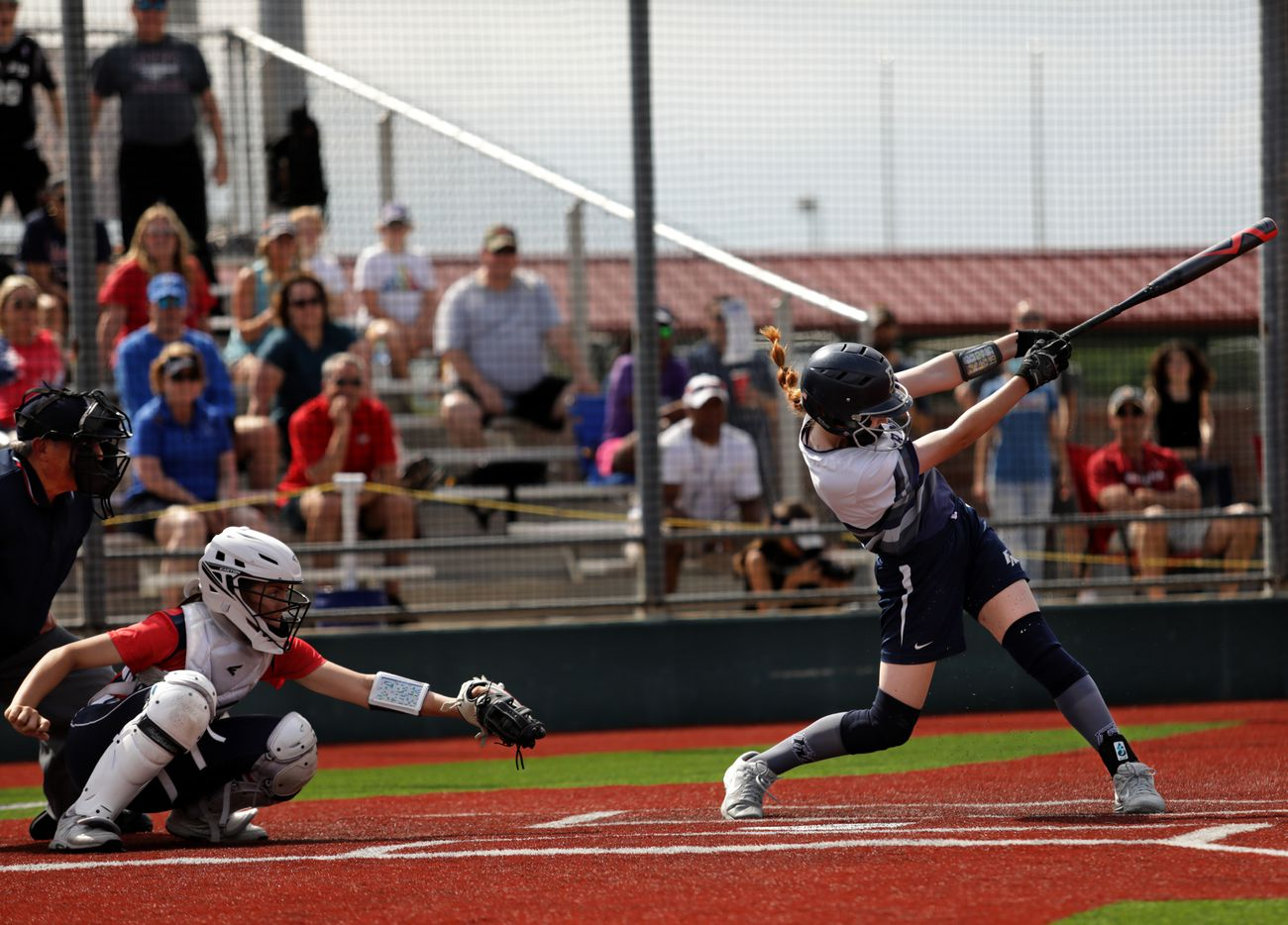Flower Mound High School player #8, Carsyn Lee, swings for the ball during a softball game against Allen High School at Allen High School in Allen, TX, on May 15, 2021. (Jason Janik/Special Contributor)