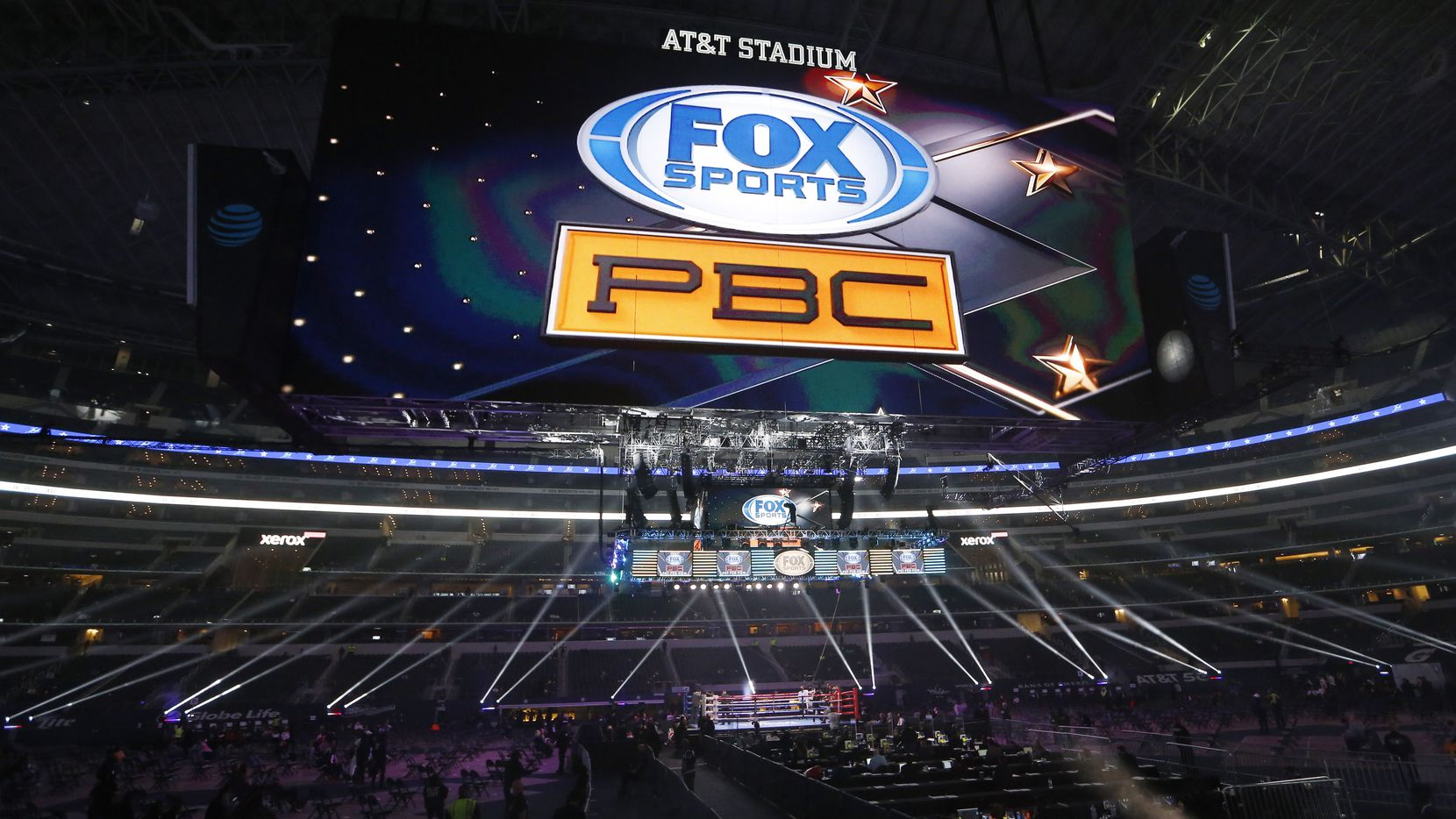 Boxing ring where Errol Spence, Jr. and Danny García will fight in a WBC & IBF World Welterweight Championship boxing match at AT&T Stadium on Saturday, December 5, 2020 in Arlington, Texas.