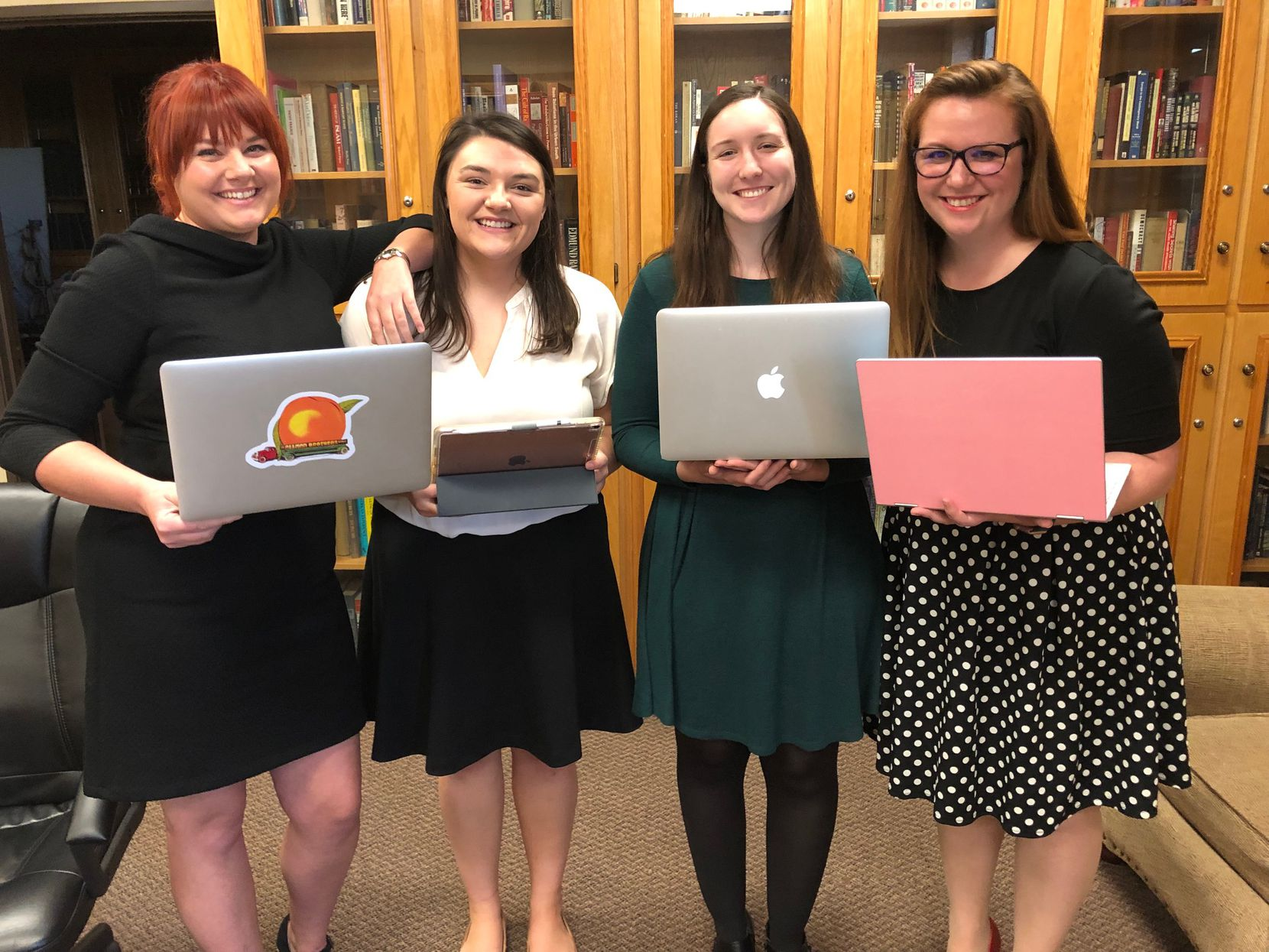 The four history students on a mission are Emily Bowles (from left), Hannah Stewart, Jessica Floyd and Micah Crittenden.