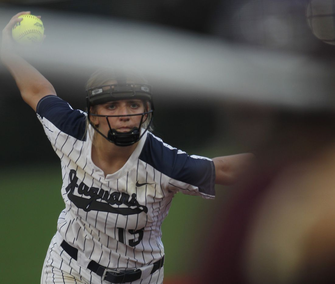 Flower Mound pitcher Landrie Harris (15) delivers a pitch to a Deer Park batter during the top of the 4th inning of play. The two teams played their UIL 6A state softball semifinal game at Leander Glenn High School in Leander on June 4, 2021. (Steve Hamm/ Special Contributor)