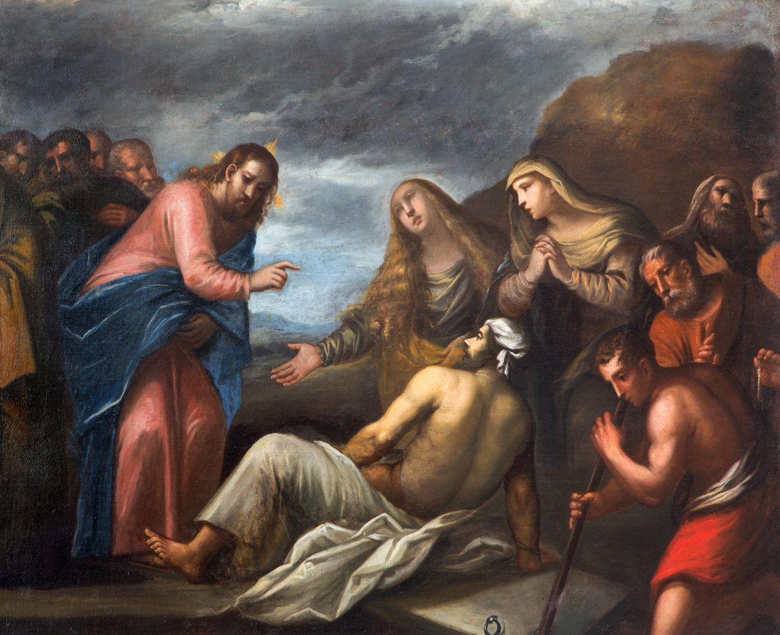 Painting of the Resurrection of Lazarus scene in the church Chiesa di San Gaetano and the chapel of the Crucifixion in Padua, Italy, by unknown painter from 17th century