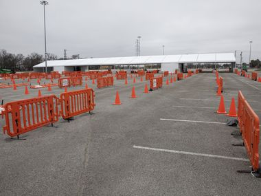 The tent area set up for drive through COVID-19 vaccinations at Fair Park in Dallas on Tuesday, Feb. 9, 2021. (Juan Figueroa/ The Dallas Morning News)
