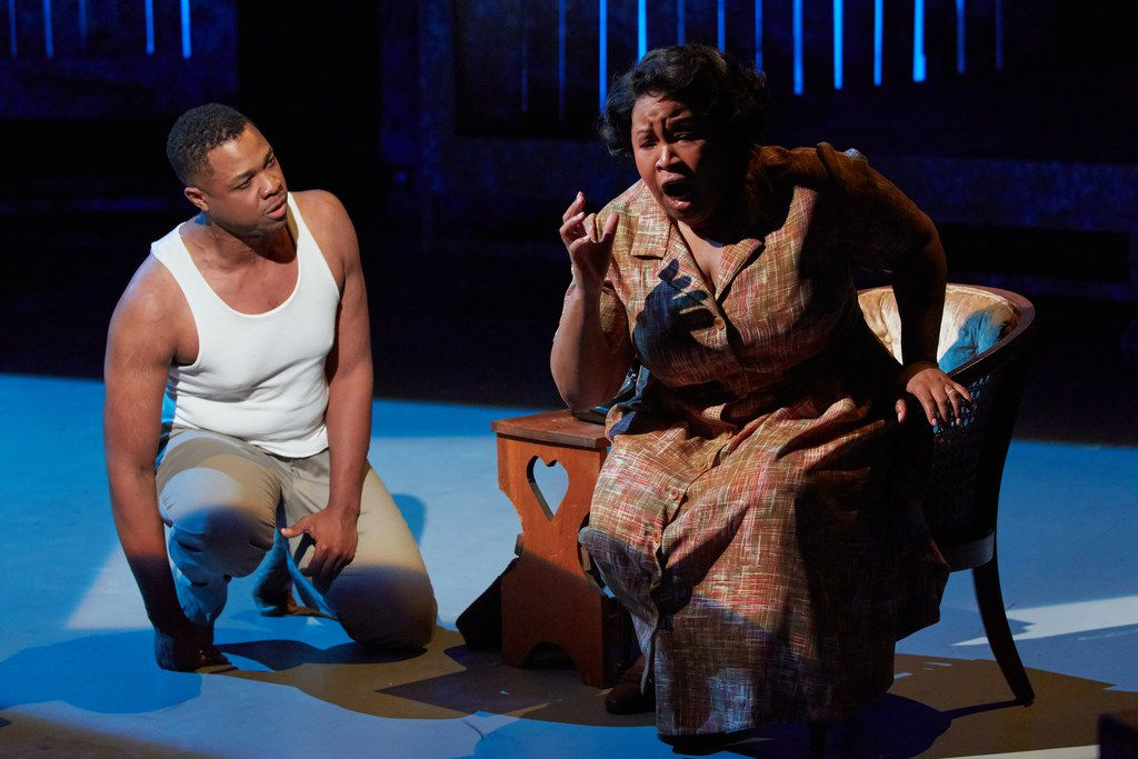 Davóne Tines as Charles Blow and Karen Slack as Billie in the world premiere of Terence Blanchard and Kasi Lemmons' Fire Shut Up in My Bones, performed at the Opera Theatre of St. Louis