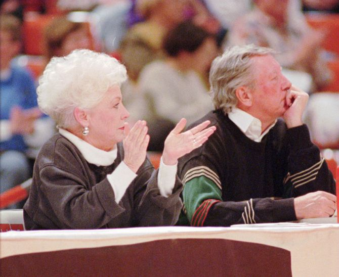 Former Texas Gov. Ann Richards watched a University of Texas women's basketball game in Austin with author Bud Shrake on Jan. 25, 1995, just after she'd left office.