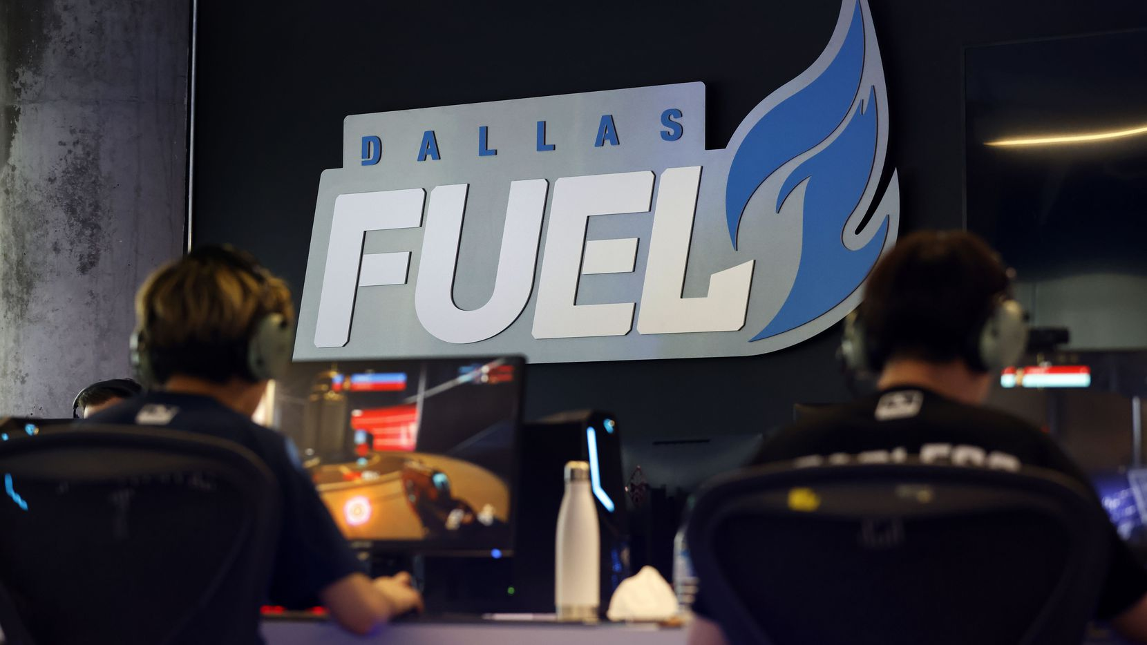 Dallas Fuel Overwatch League players practice ahead of their season opener against Houston at Envy Gaming Headquarters in Dallas, Monday, March 29, 2021.