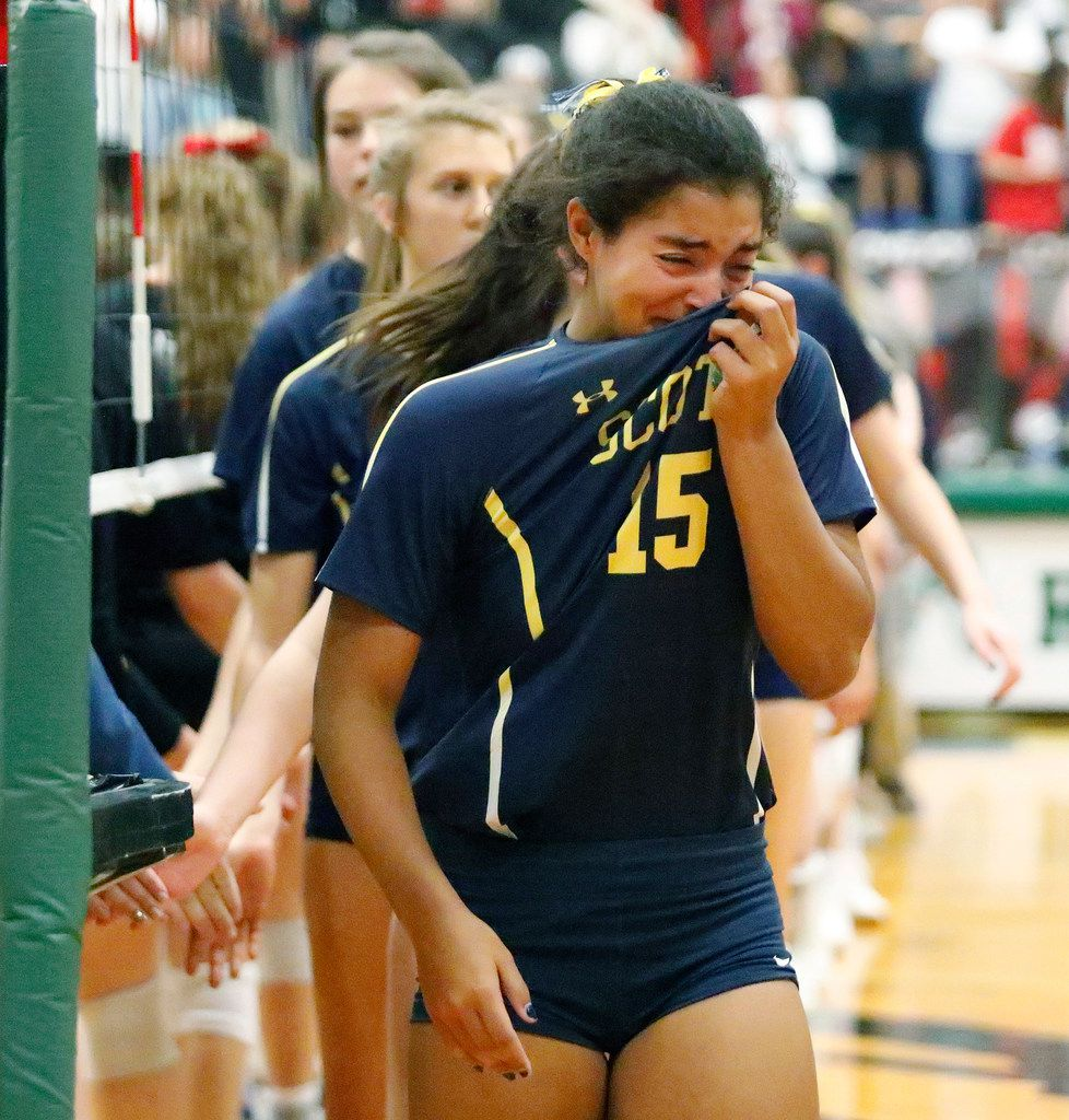 Highland Park High School defensive specialist Bela Alomar (15) wipes tears as Highland Park's season came to an end after game three as Lovejoy High School hosted Highland Park High School in the Class 5A Region II championship match held at Berkner High School in Richardson on Saturday, November 16, 2019. (Stewart F. House/Special Contributor)