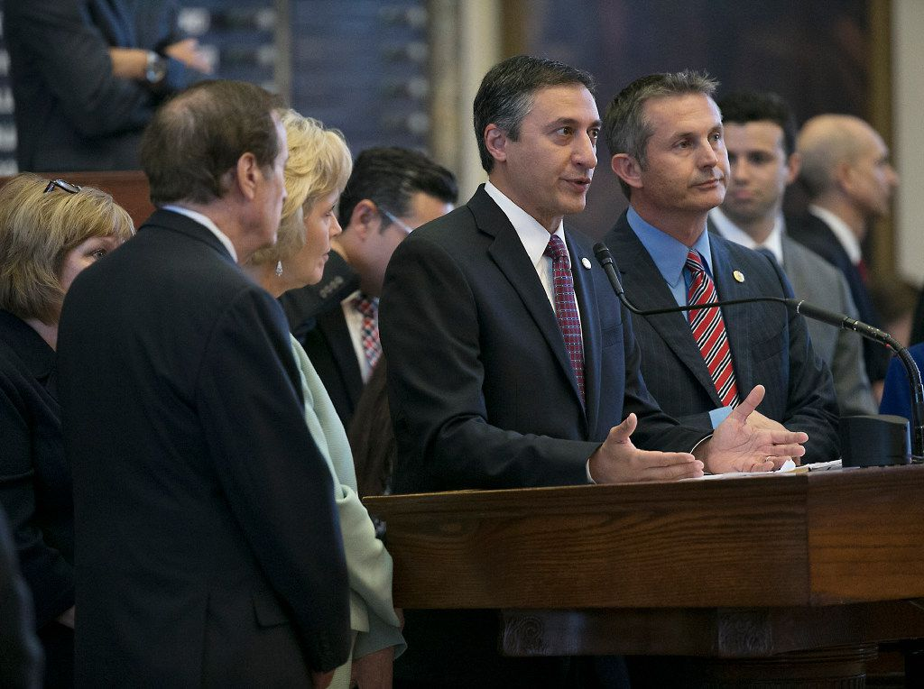 In its first day of bill voting on supplemental items on Gov. Greg Abbott's special session agenda, the Texas House gave preliminary approval on a bill that would require stricter reporting of abortion complications laid out in House Bill 13 by Rep. Giovanni Capriglione, R-Southlake (center).