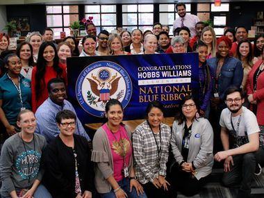 Grand Prairie ISD shared this image of staffers at Hobbs Williams Elementary, which was taken earlier this year when the school was announced as a nominee--well before the coronavirus pandemic would have led everyone in this image to wear a mask.