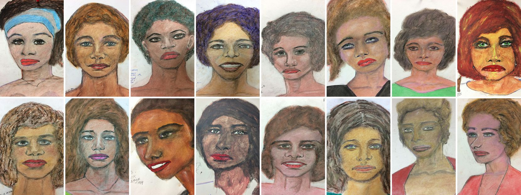 The FBI on Feb. 13, 2019, released this compilation of drawings by Samuel Little of some of his murder victims from around the U.S.