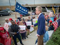 Former state Sen. Don Huffines, shown at an October 2019 event by opponents of impeaching then-President Donald Trump in Richardson, Texas, announced on Monday that he is running for governor next year.