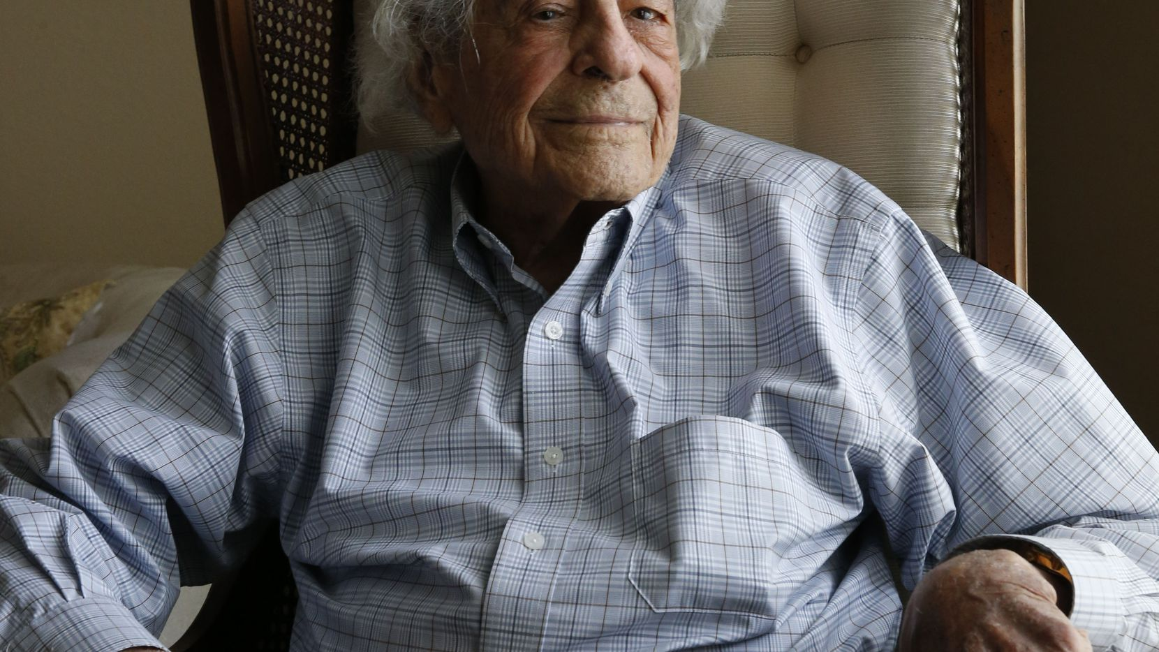 James Megellas poses for a portrait at age 101.