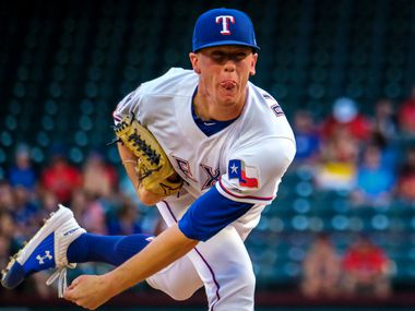 Texas Rangers pitcher Kolby Allard follows through on a pitch during the first inning against the Tampa Bay Rays at Globe Life Park on Thursday, Sept. 12, 2019, in Arlington. (Smiley N. Pool/The Dallas Morning News)